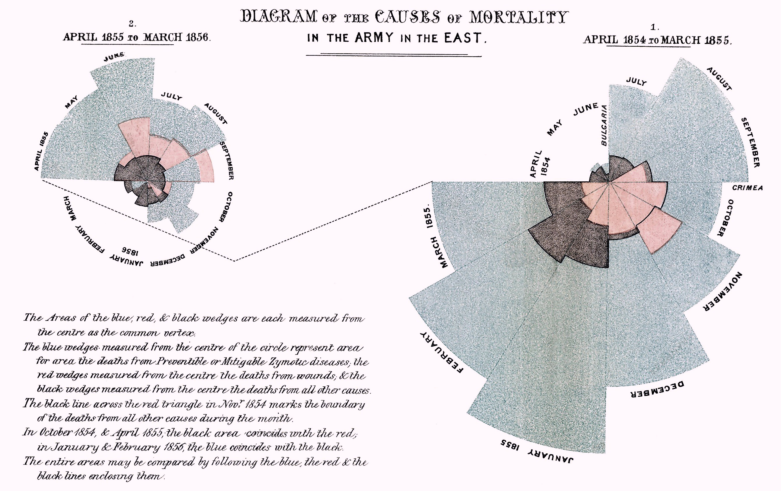 Florence Nightingale's 1858 diagram of the causes of mortality in the army (source: Wikipedia). She's credited with developing the polar area diagram chart.